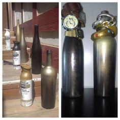 Wine bottle DIY jewelry holders #winebottles #spraypaint
