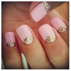 Pink nails with Gold half moons!