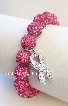 NEW Bling Hoops Bling  Breast Cancer Awareness