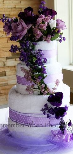 A towel cake I made for my daughters wedding shower wedding shower cakes, towel cakes, wedding showers, daughter, wedding cakes, shower idea, purple cakes, bridal showers, baby showers