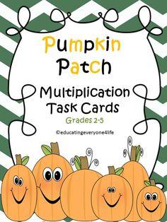 Multiplication Task Cards: Fall Theme
