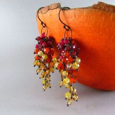 Ruby, Carnelian, Agate and Citrine Oxidized Sterling Silver Cluster Earrings