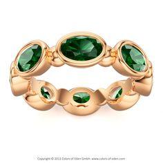 DESIGNER ETERNITY RING Nimbus 14k Rose Gold (8) 6mmx4mm Oval faceted Green Tourmaline Ring bezel set Ring