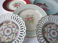 Shabby Vintage Floral Plate Collection of Five by jenscloset