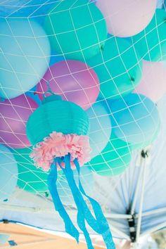 mermaid parti, birthday parties, birthdays, balloon decorations, sea, princess party, mermaid birthday, parti idea, kid
