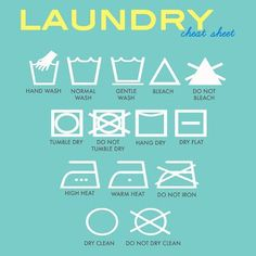 Handy cheat sheet for laundry -- What those little symbols on the tag mean.