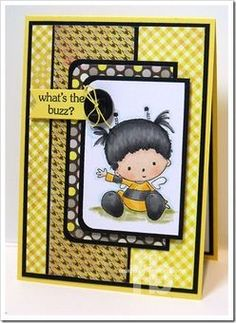 handmade card: Playing with My Design Studio - StampOwls Studio ... like this design and the cute main image ... yellows and black ...
