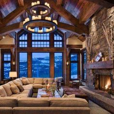 interior, living rooms, living spaces, ski chalet, dream, family rooms, ceiling beams, hous, rustic elegance