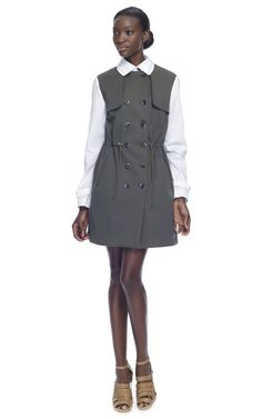 Love a trench with white sleeves... Thakoon Addition Drawstring Trench $820