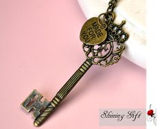 Victorian old big crown key Necklace, with a loving heart