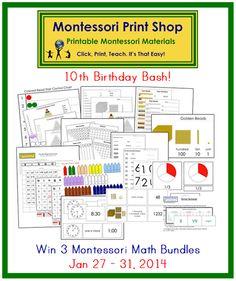 Win the Math bundle! Great Giveaway! birthday bash, math bundl, 10th birthday, montessori math, math materi, montessori materials