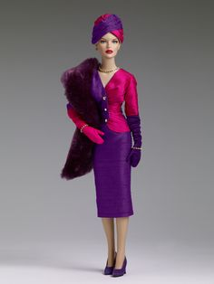 "$209.99 DeeAnna Denton ""Afternoon Cocktails"" - Tonner Doll Company Dressed doll  Peggy Harcourt™ head sculpt  16"" curvaceous body  Tyler skin tone  Purple painted eyes with applied eyelashes  Pale blonde rooted saran hair  Iridescent purple skirt  Iridescent purple and fuchsia top with gold studs  Pink and purple glove  Rhinestone bracelets  Rhinestone necklace  Rhinestone earrings  Nude pantyhose  Purple faux suede shoes  Iridescent purple and fuchsia hat  Purple faux fur shawl  LE 500"