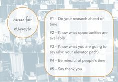 career fair etiquette  important tips to read before your next career fair: http://www.prepary.com/career-fair-etiquette/
