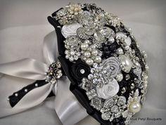 "Our ""Julia"" Brooch Bouquet in black #broochbouquet #wedding #bridal"