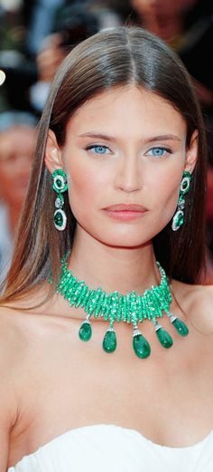 Bianca Balti...amazing eyes                               Cocktails, Anyone? - The Elegance of The Lady in White - The Perfect Match! - The Sparkles of Green (The Color of Spring) Emerald Necklace and and coordinating Emeralds and Diamonds Earring.  Visit The Jewelry Hut Gemstone Jewelry Boutique