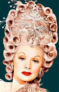 Lucille Ball as Madame du Barry in Du Barry was a Lady, 1943. That pink hairdo is so Rococo Fab, don't you agree?