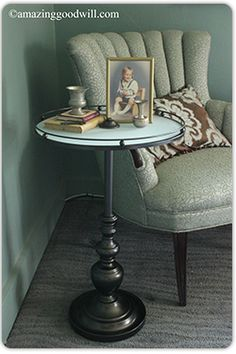 From table lamp to side table! See how it's done, here! #Goodwill #DIY