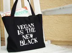 Black Vegan Tote Bag (Reversible) - Vegan is the New Black on etsy