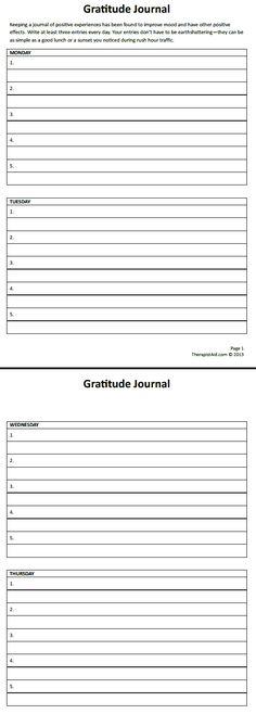 Gratitude Journal | Therapist Aid