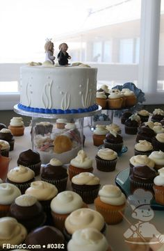 "Design W 0382 | 8"" Butter Cream Wedding Cake & Assorted Cupcakes  | Custom Quote"