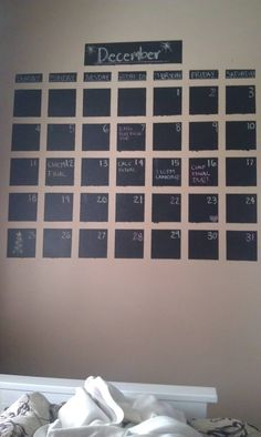 Chalk board paint calendar