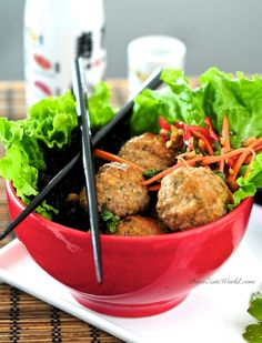 Thai Meatballs w/ Spicy Carrot Slaw & Forbidden Rice