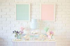 P A S T E L S, pale pink and blue dessert table