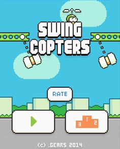 Swing Copters App by Dong Nguyen. Retro gaming apps.