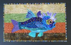 Fiber art, beaded and quilted, fish by Sandy Pistono (Wyoming)