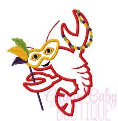 Mardi Gras Crawfish Machine Embroidery Applique Design