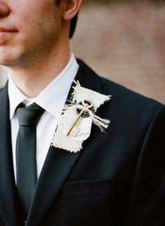 vintage key + burlap boutonniere | Nathan Westerfield