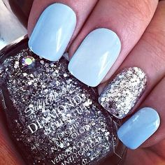nail polish, blue color, mint, glitter nails, glitter accent nail white