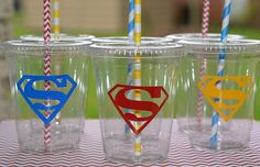 Party Cups12 Super Hero Party Cups Lids Paper by SignatureAvenue