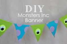 DIY monsters inc banner for birthday party, super easy and inexpensive + free template and party printables