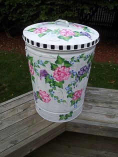 30 Gallon Hand Painted Galvanized Metal Cans with Handles and Tight Fit LidCans
