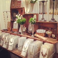 Love the wood crates, would like to see a closer up of what the necklaces are hung on inside of those wire baskets.