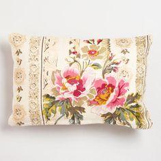 One of my favorite discoveries at WorldMarket.com: Pink Floral Herringbone Lumbar Throw Pillow