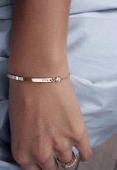 Bracelet with name and birthstone = so delicate pretty! style, bracelets, names, etsy bracelet, simple gold bracelet, jewelri, tiny gold bracelet, simple diamond bracelet, april birthstone