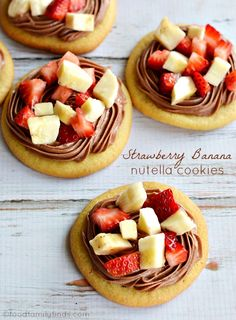 Easy Strawberry-Banana Nutella Cookies ( could even use store bought cookies and choice of fruit with sprinkling of icing sugar) food recipes, banana, sweet, christmas eve, strawberri, cookies, nutella cooki, cooki recip, cream cheese frosting