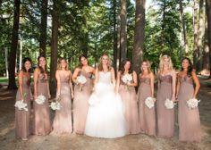 Neutral Amsale bridesmaid dresses via @Cara Stoneham & Cake