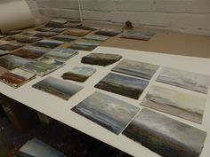 Kristan Baggaley's studio, August 2014. Preparations for his 'Dawn to Dusk' exhibition at gallerytop in Rowsley.