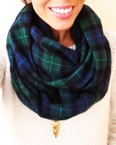 Navy and Hunter Green Plaid Infinity Scarf- Cozy Flannel Winter Scarf
