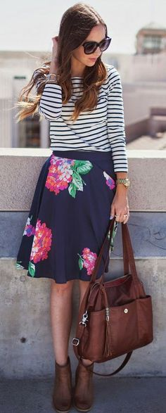 skirt, floral prints, mixing prints fashion, church outfits, floral stripes, bag, mixed prints, work outfits