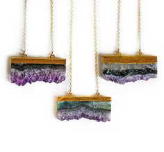 Amethyst Druzy Elongated Slice Necklace by Kei, yes please!