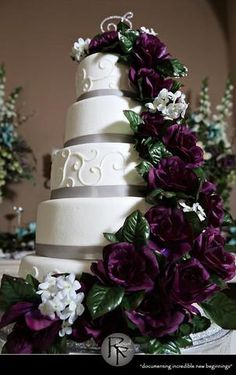 pink flowers, wedding cakes, red roses, wedding cake roses and leaves, purple roses, purpl rose