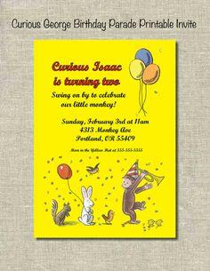 Curious George Birthday Parade Printable Invitation