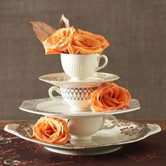 Stacked china and roses centerpiece
