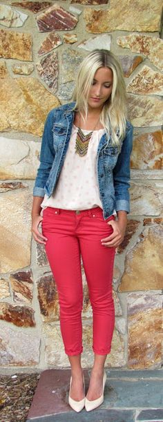 Red jeans and denim jacket.