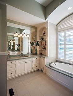 Master bathroom from the Cedar Court Plan 5004 http://www.dongardner.com/plan_details.aspx?pid=2721 Tray ceilings crown the dining room, study and master bedroom, while a cathedral ceiling tops the great room. #Luxury #Bathroom #House #Designs