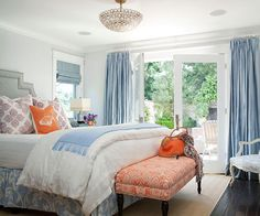 dark grey and orange bedroom | ... and orange designs, blue and orange pillows, blue and gray bedroom